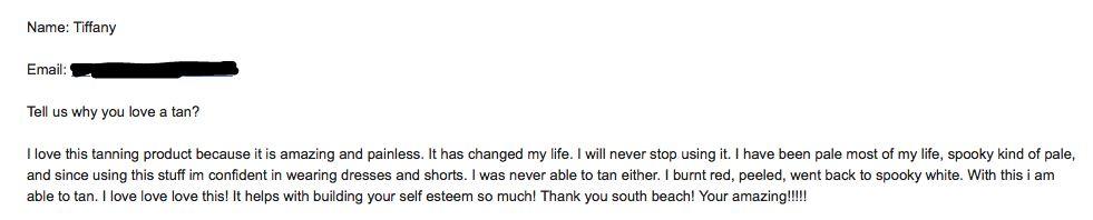 Tiffany Green Tan email testimonial